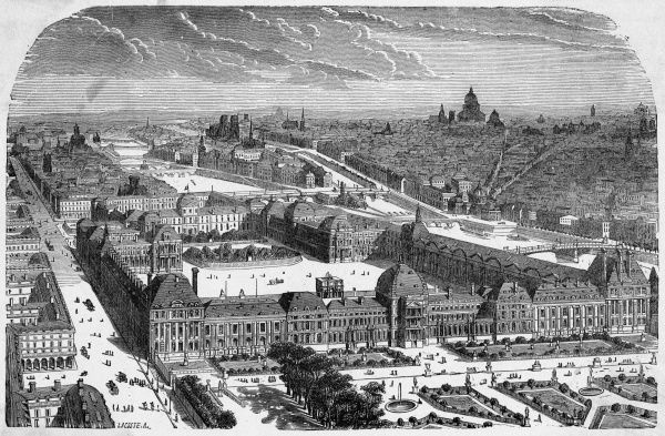 Bird's-eye view of the Tuileries and the Louvre, shortly before the destruction of the Tuileries palace by the Commune