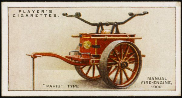'Paris' type manual fire- engine, with the pumps contained in the water cistern, with everything mounted on an oak base plate