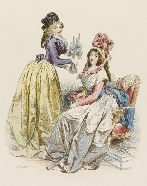 Two well-dressed Parisiennes holding flowes, not too bothered by the revolution which is raging around them