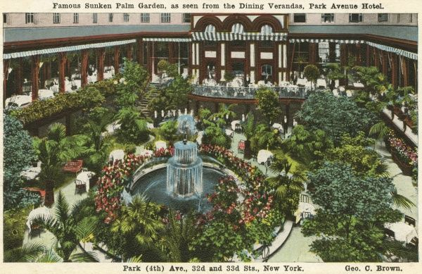 Park Avenue Hotel, famous sunken Palm Garden, Park Avenue and 33rd Street, New York City, America