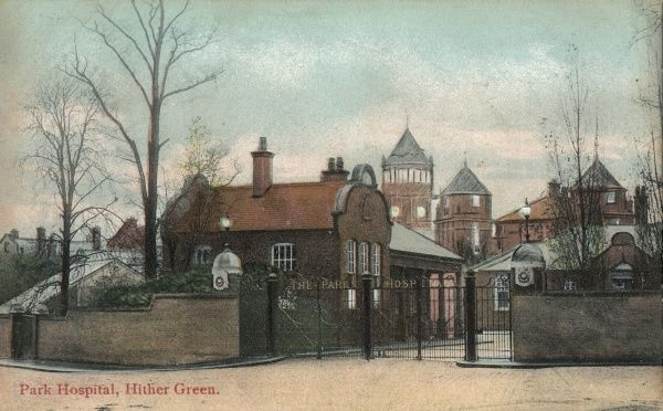 The entrance to the Park Hospital, Hither Green, south east London. The Park was one of the fever hospitals opened by the Metropolitan Asylums Board between 1870 and 1900 for the sick poor in metropolitan London