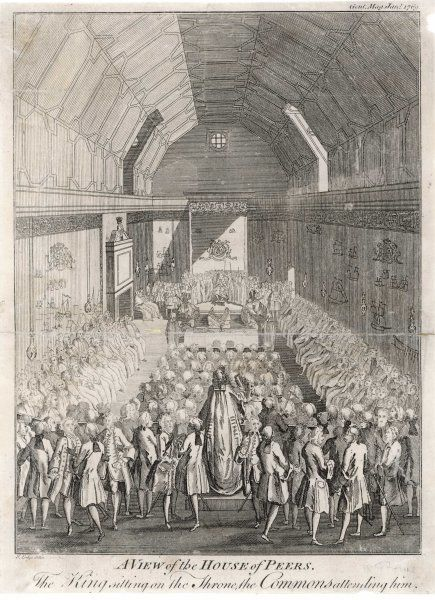 King George III opens Parliament, with members of both houses attending
