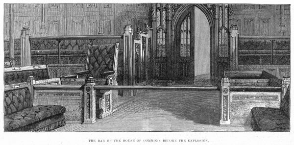 The Bar which excludes strangers from the House of Commons, which is raised at the Speaker's discretion