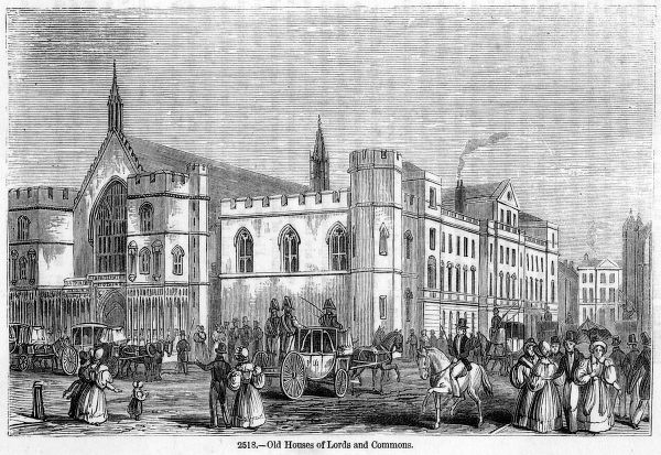 The old Houses of Parliament before the fire of 1834 which will destroy them