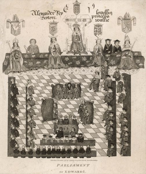 The parliament of Edward I, King of Britain, consisting of clergy, aristocracy, and other representatives