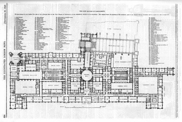 Plan of the principal floor of the new Houses of Parliament