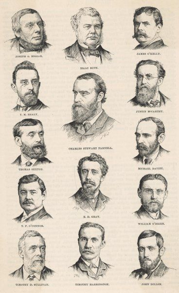 The leaders of the Irish Parliamentary Party, including Charles Stewart Parnell