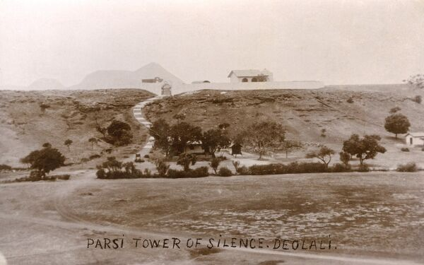 The Parsi (Zoroastrian) Tower of Silence at Deolali, India