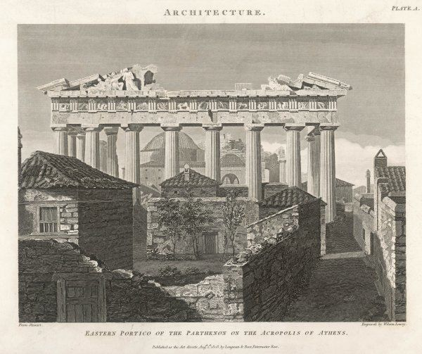 The eastern portico of the Parthenon seen over neighbouring rooftops