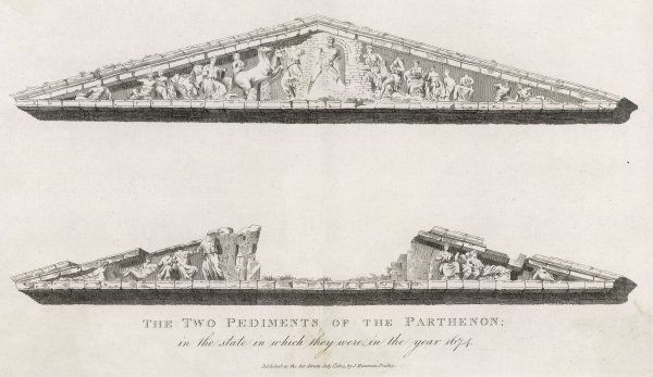 The two pediments of the Parthenon in the state in which they were in the year 1674