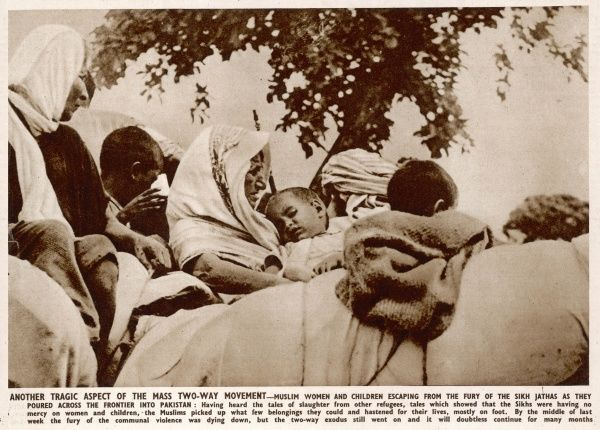 Muslim women and children escaping the Sikh Jathas, pouring over the frontier border into Pakistan having heard about atrocities and violence following Partition in 1947