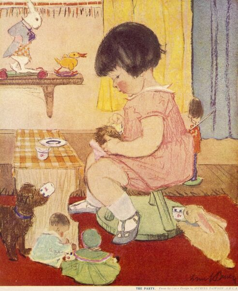 A little girl in a pink dress entertains her toys with a tea party in her playroom