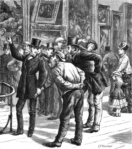 Engraving showing a group of 'working men' being guided around the paintings of the National Gallery, London, 1870