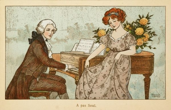 An 18th century couple make beautiful music together. A gentleman in a wig plays the harpsichord while his lady companion dances prettily