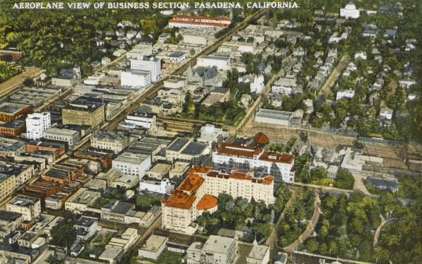 Aerial view of business district, Pasadena, California, America