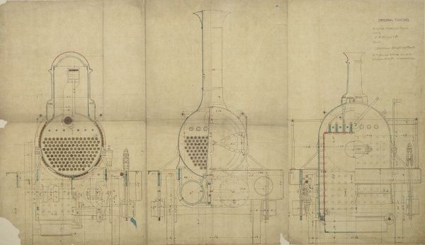Passenger engine, cross sections Date: 1846
