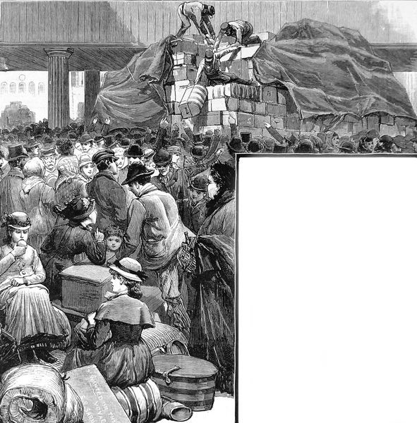 Engraving of the crowded Liverpool railway station, with children sitting on baggage in the foreground, and a huge luggage trolley holding hundreds of trunks in the background