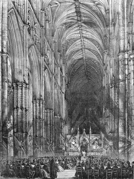 Engraving showing the interior of Westminster Abbey during the Passion Music Service of Easter 1872