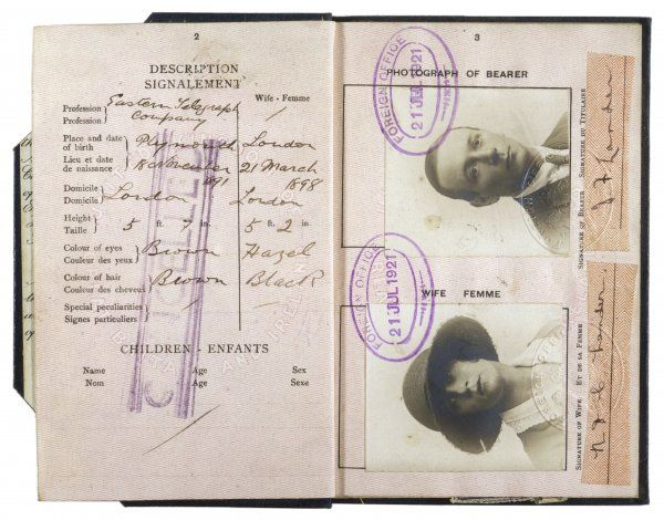 Joint passport for husband and wife, issued to Mr and Mrs Digby Lander (parents of Mary Evans who founded this Library)