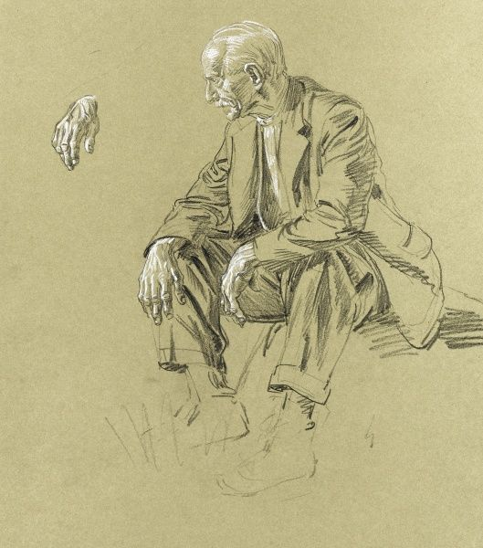 Pastel study of an seated old man (with an inset detail of one of his hands) by Raymond Sheppard