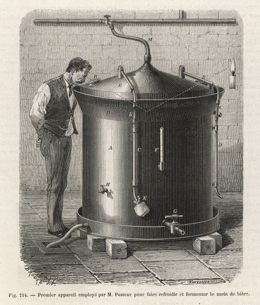 Original apparatus used by Pasteur for the cooling and fermenting of the beer wort