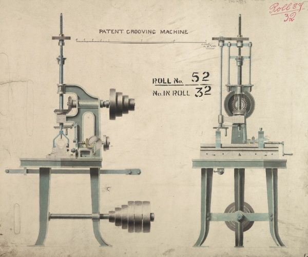 Patent grooving machine, front and side elevations Date: 1854