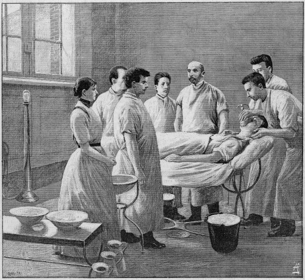 Patient being put under anaesthetic before an operation