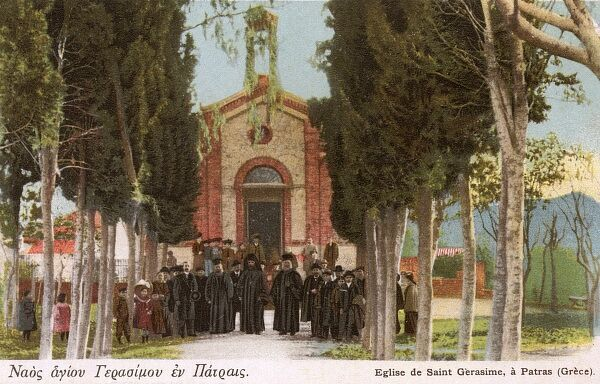 Patras, Greece - The Church of Saint Gerasimos of Kefalonia, the patron saint of the island of Kefalonia in Greece. Date: circa 1904