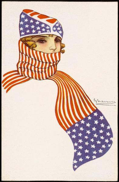 A young, blonde patriotic American girl in stars & stripes accessories of cap & scarf which is wrapped up high around her face. The flag livery is in reverse colours