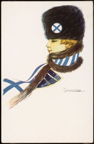 A patriotic Finnish girl wearing matching hat and scarf with the Finnish flag's design