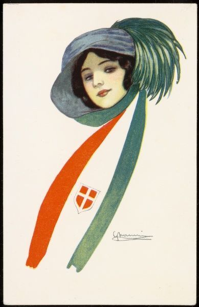 A young, brunette patriotic Italian girl in a feather adorned hat & a scarf whose decorative design is based on the Italian flag