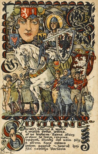 A patriotic postcard from Czechoslovakia, possibly published to mark the end of the First World war and the creation of Czechoslovakia out of the remnants of the Austro-Hungarian Empire