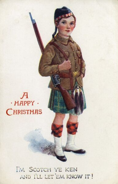 "Patriotic Postcard - WWI - Young boy in the uniform of a Scots Highlander soldier posing on this Christmas Greetings Postcard. ""I'm Scotch ye ken and I'll let 'em know it!"" Date: circa 1910s"