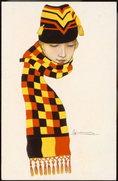A young, blonde patriotic Belgian girl in tasselled cap & a scarf with a red, yellow & black checker board ground bordered with the Belgian flag & a fringe of tassels