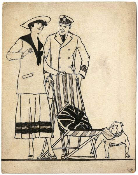 A dashing naval officer offers a deckchair to a young lady wearing a complementary sailor dress. The scene is given a patriotic flavour with a Union Jack cushion and a bulldog standing by. One of a series of postcards drawn by amateur soldier artist