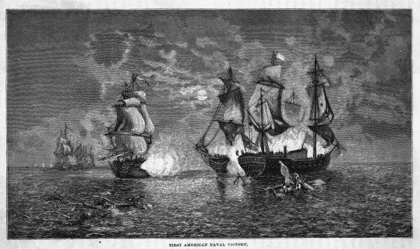 John Paul Jones in 'Bonhomme Richard' engages 'Serapis' in the North Sea ; asked to surrender, he answers 'Sir, I have not yet begun to fight', takes, sinks the British ship
