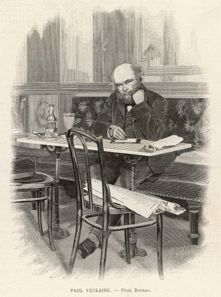 Paul Verlaine, French poet associated with the Symbolist movement. Seen here writing at a cafe table