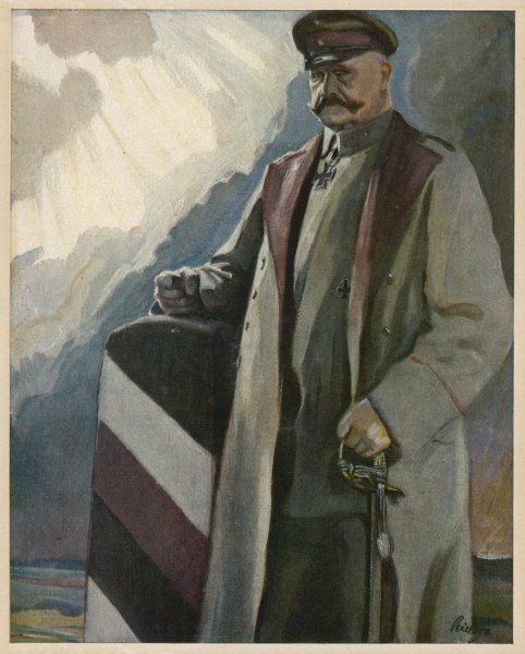 PAUL VON HINDENBURG German general and politician, depicted at the German frontier