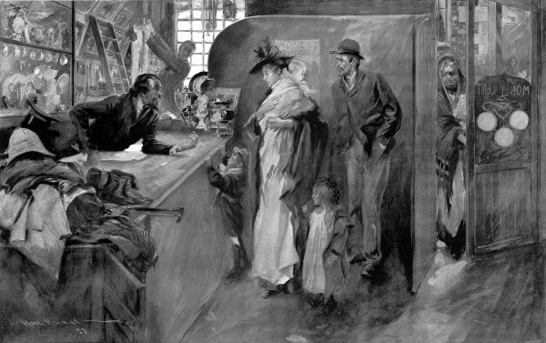 This illustration shows a poor family, the wife holding a baby, two children and her husband. The pawnbroker examines a ring they have just given him. A poor older woman enters the shop in the background