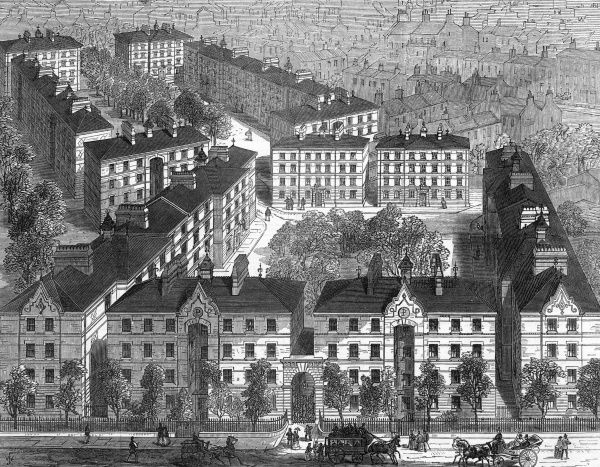 The Peabody-Square model dwellings, in Blackfriars Road, London, erected by the generosity of the American dry-goods merchant George Peabody who settled in UK. Date: 1872
