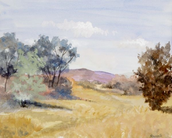 A view across summer pastures of burnt yellow crops and wild grasses toward distant hills, purple in the sun. Watercolour painting by Malcolm Greensmith