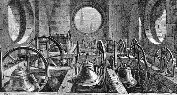 Engraving showing a view of the peal of bells in St. Paul's Cathedral, London, 1878