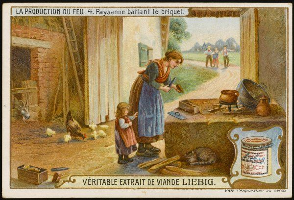 A peasant mother and her daughter in a barn: mother is trying to obtain a spark in order to light a fire for cooking