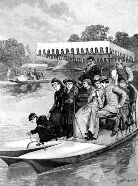 Engraving showing pedaloes made to resemble swans cruising the lake in Central Park, New York, 1891. Each of these pleasure boats was able to carry up to 12 passengers