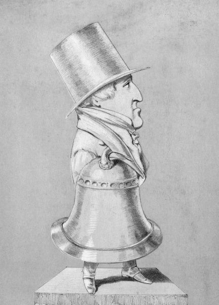 Sir ROBERT PEEL THE YOUNGER statesman depicted as a bell - a 'pealer', get it? Very witty... Date: 1788 - 1850