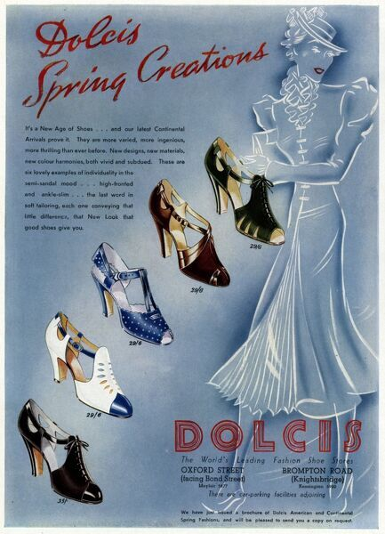 An advertisement for Dolcis shoes including a selection of high heeled peep toe and closed toe sandals in various colours Date: 1937