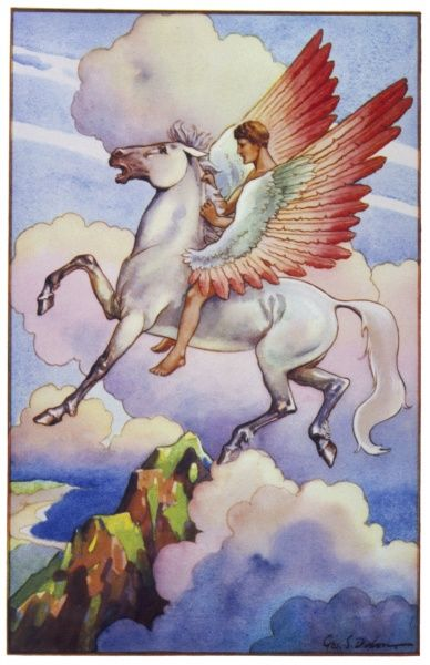 Pegasus and his rider soar through the air