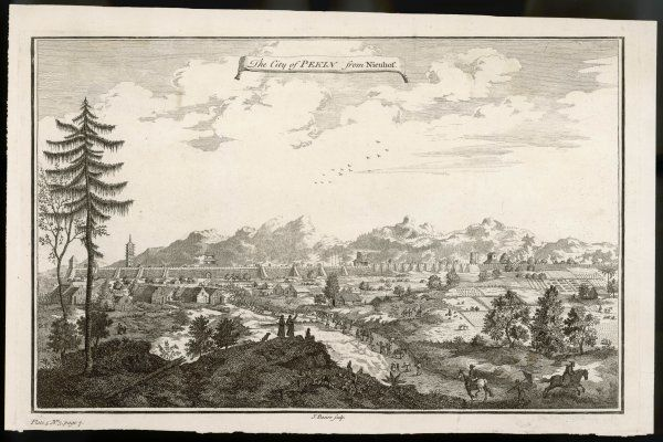 A view of the city which includes the surrounding countryside. An 18th century engraving from a 17th century original