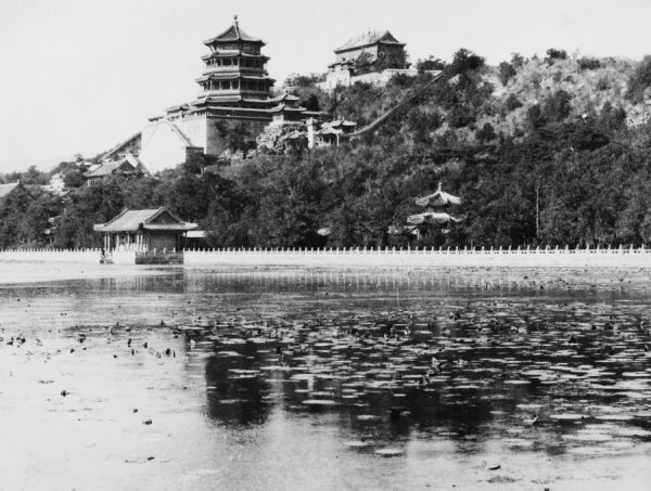 The Summer Palace at Peking (Beijing), photographed from the lake