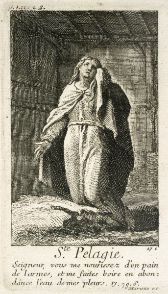 PELAGIA THE PENITENT actress of Antioch who after hearing a Christian sermon repented of her wicked ways and became a hermit on the Mount of Olives, Jerusalem